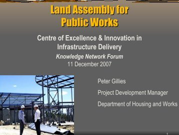 Land Assembly for Public Works - Department of Finance