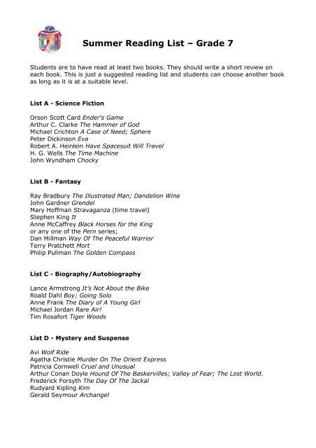 Grade 7 Summer Reading List Rome International School