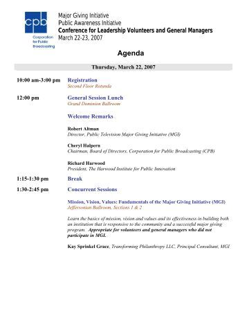 Conference Agenda - Major Giving Initiative