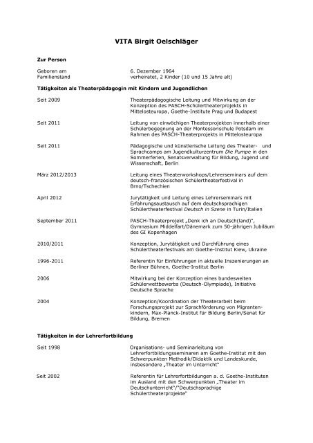Lebenslauf Pdf Dokument Zum Download Birgit Oelschläger