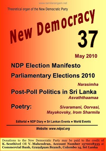 NDP Election Manifesto Parliamentary Elections 2010 Post-Poll ...