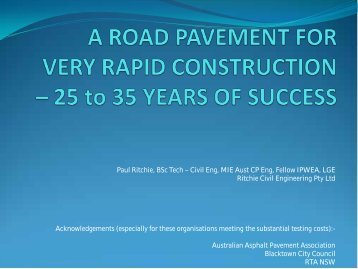 A ROAD PAVEMENT FOR VERY RAPID ... - Aapaq.org
