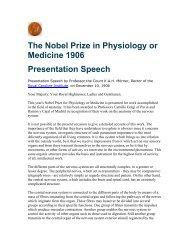 The Nobel Prize in Physiology or Medicine 1906 Presentation Speech