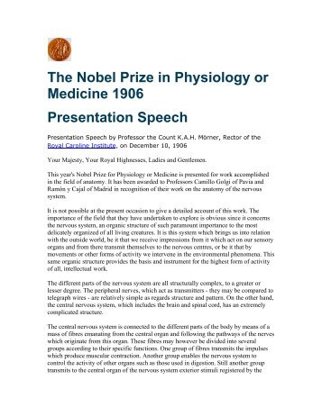 The nobel prize in physiology or medicine 1961 presentation speech.