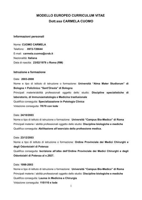 curriculum vitae formato europeo per odontoiatri