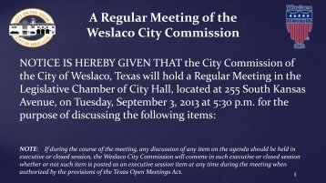 2. Agenda, Sept. 3, 2013 - City of Weslaco