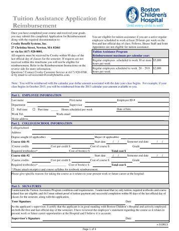 tuition-istance-application-for-reimbursement-crosby Employer Tuition Istance Application Form on