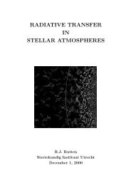 RADIATIVE TRANSFER IN STELLAR ATMOSPHERES