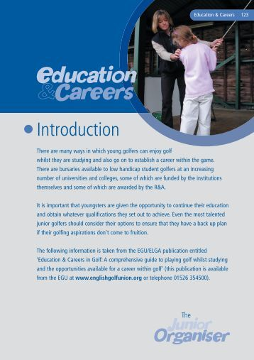Junior Organisers Handbook: Education & Careers in ... - England Golf