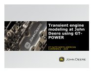 Transient engine modeling at John Deere using GT- POWER