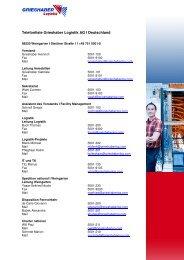 Telefonliste Grieshaber Logistik AG I Deutschland