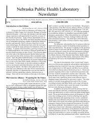 Spring 2006 Newsletter - the Nebraska Public Health Laboratory