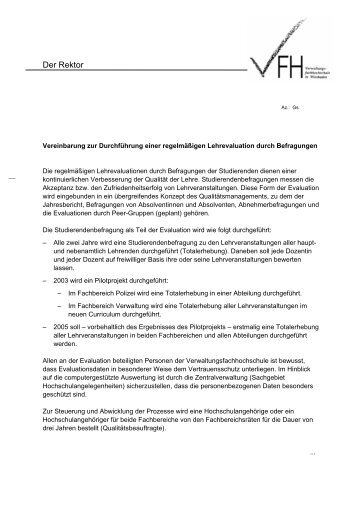 Vereinbarung zur Studierendenbefragung VFH-Hessen