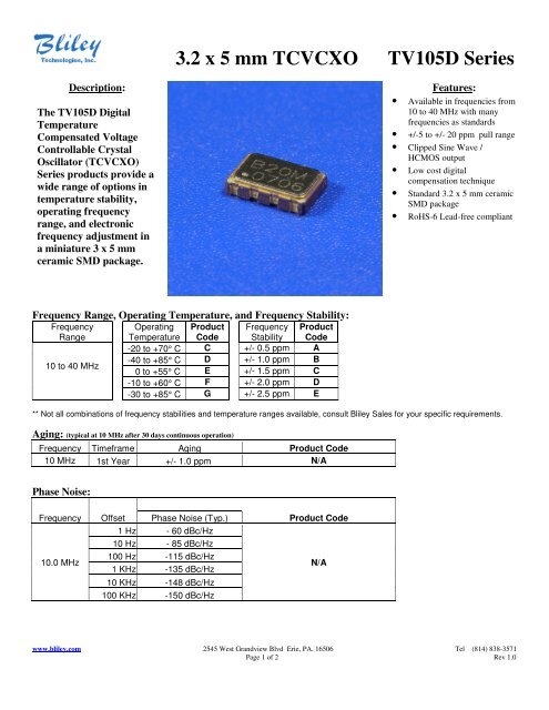 TCXO 10 MHz ±1.5ppm Clipped Temperature Compensated Crystal Oscillator