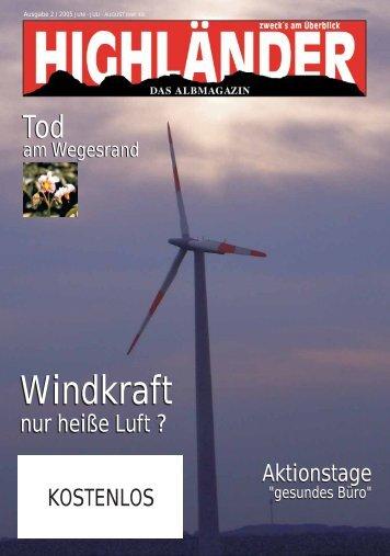 Windkraft Windkraft -  Highländer Albmagazin