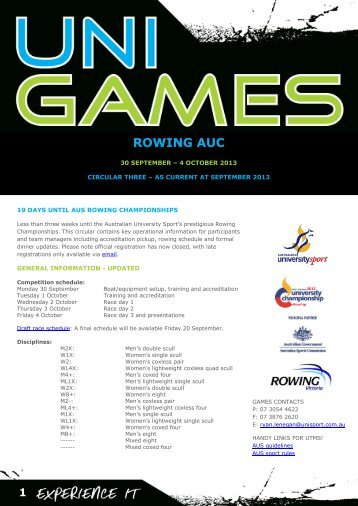 Circular 3 (September 2013) - Australian University Sport