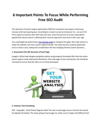 6 Important Points To Focus While Performing Free SEO Audit