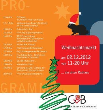 Weihnachtsmarkt am 02.12.2012 von 11-20 Uhr - Gewerbeverein ...