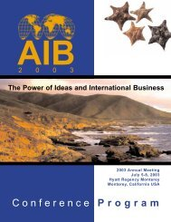 Conference Program - Academy of International Business