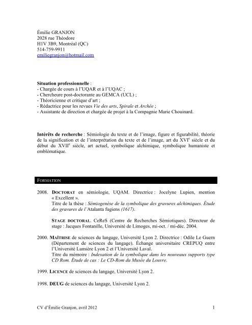 1 émilie Granjon 2028 Rue Théodore H1v 3b9 Gemca Ucl
