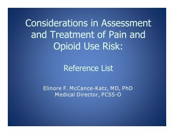 Considerations in Assessment and Treatment of Pain and ... - PCSS-O