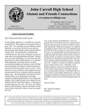 Winter 2003 Alumni Newsletter - John Carroll Catholic High School