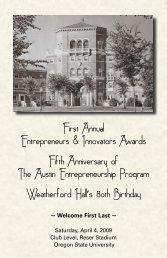 First Annual Entrepreneurs & Innovators Awards Fifth Anniversary of ...