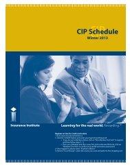 CIP Schedule Winter 2013 - Insurance Institute of Canada