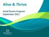 Small Grants program overview Sept 2011.pdf - Alive & Thrive