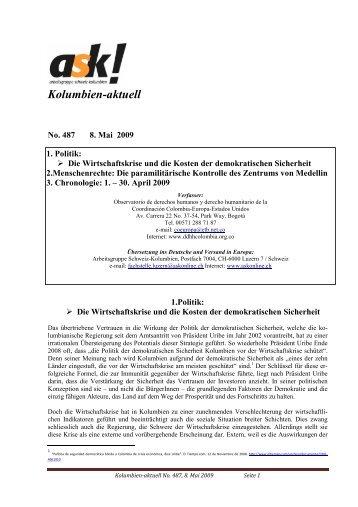 Kolumbien-aktuell No. 487 / 8. Mai 2009 - ask! Arbeitsgruppe ...