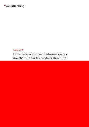 Directives concernant l'information des investisseurs sur les produits ...