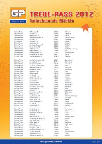 Treue-Pass 2012 Teilnehmende Märkte - Getränkepartner