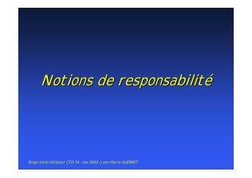 Notions de responsabilité - Jacquet Stephan