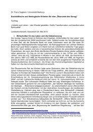 """Ökonomie des Genug"" Fachtag - Prof. Dr. Franz Segbers"