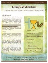 Liturgical Ministries - St. Patrick's Catholic Church