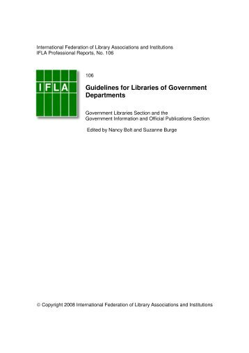 Guidelines for Libraries of Government Departments - IFLA