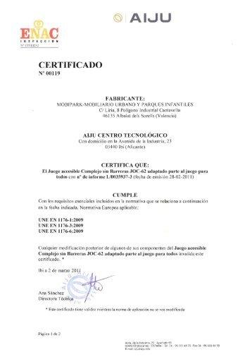Certificado - MOBIPARK SL, Mobiliario Urbano y Parques Infantiles