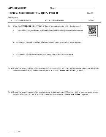 10826 AP Chemistry Chemical Equations Worksheet