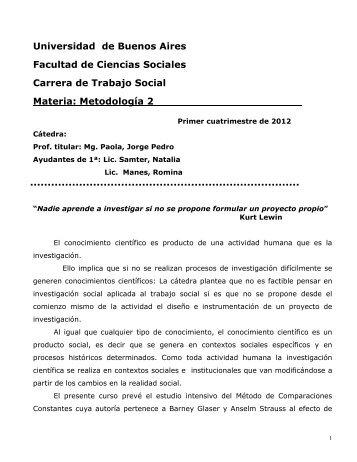 781 - Metodología II-Paola-2012 - Carrera de Trabajo Social