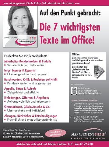 Die 7 wichtigsten Texte im Office - Management Circle AG