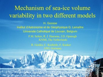 Mechanism of sea-ice volume variability in two different models