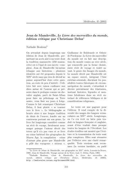 Jean de Mandeville, Le Livre des merveilles du monde, édition ... - doc