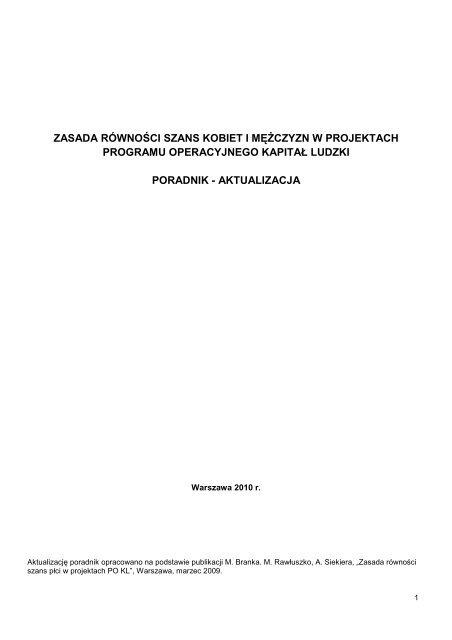 Poradnik Zasada równości szans kobiet i mężczyzn w projektach PO ...