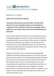 Medieninfo vom 14. Juli 2010 Kleber-Aktion für das Zürcher ... - Zuri