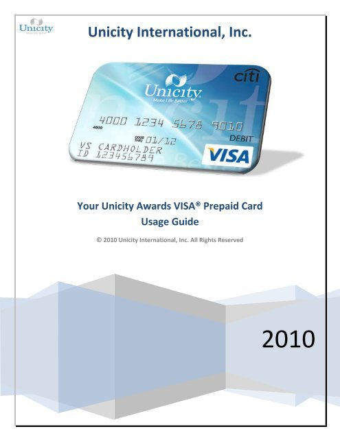 Your Unicity Awards VISA® Prepaid Card