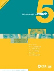 TECHNOLOGIES TO watch - Consumer Electronics Association