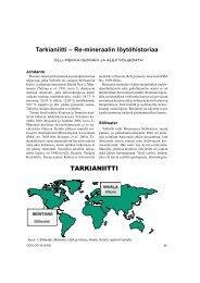 Tarkianiitti – Re-mineraalin löytöhistoriaa - Suomen Geologinen Seura