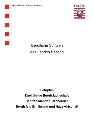 Berufsfeld Ernährung und Hauswirtschaft - Berufliche Bildung in ...