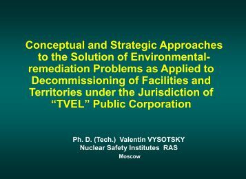 Strategic and conceptual approaches to environmental solutions for ...