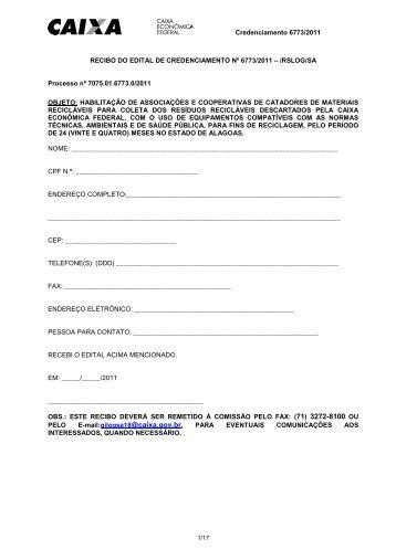 EDITAL CREDENCIAMENTO 6773 2011 COLETA SELETIVA Alagoas